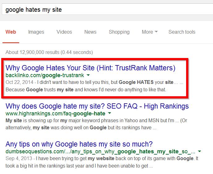 запрос «Google ненавидит мой сайт»