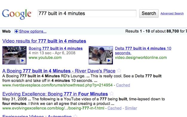 результаты Google по запросу «777 built in 4 minutes»