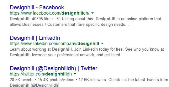 результаты Google по запросу «Designhill»