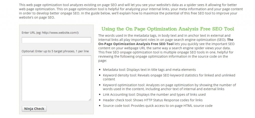 On-Page Optimization Tool