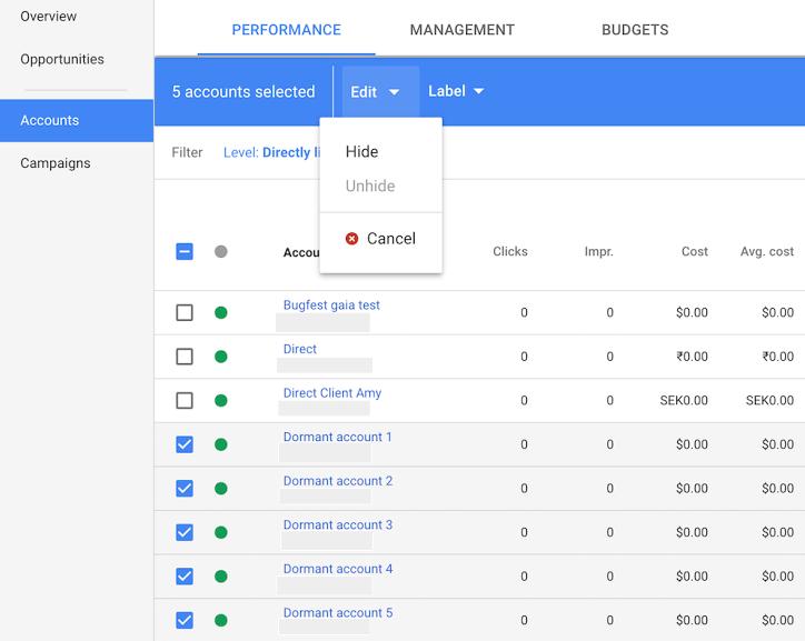 Google AdWords: закрытие управляемых аккаунтов