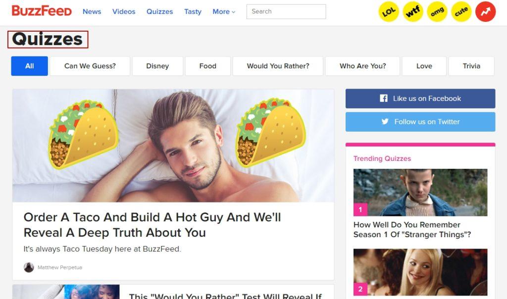 Пример квиза в BuzzFeed