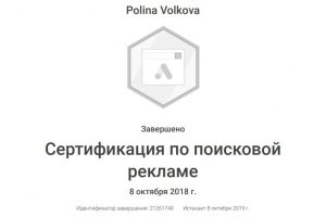 Сертификация по поисковой рекламе Полина